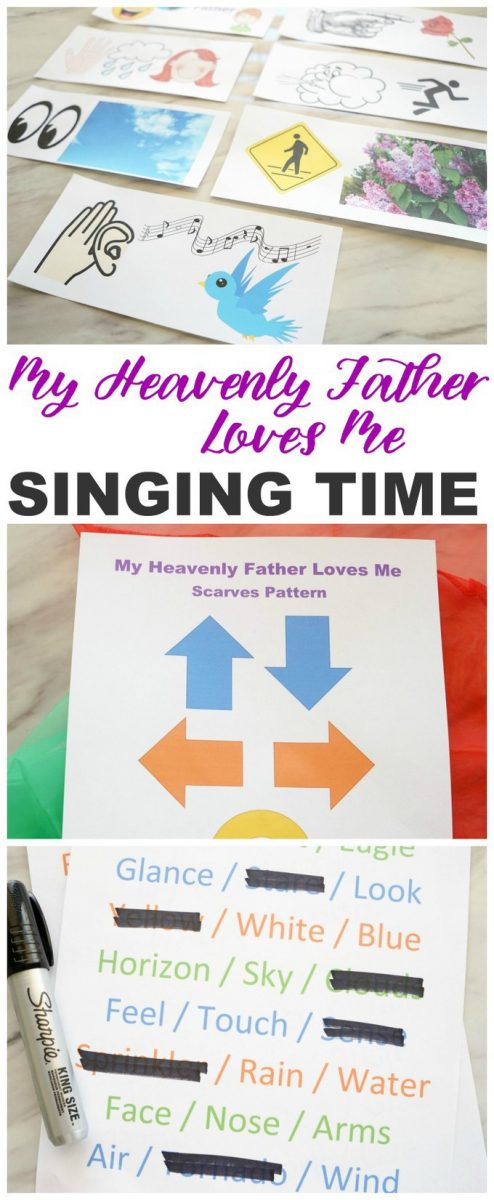 Easy ideas including printables for primary music leaders to teach My Heavenly Father Loves Me for singing time! Chorister ideas include music patterns with scarves, picture word strips, and more! See all our LDS last minute printables, games + ideas!