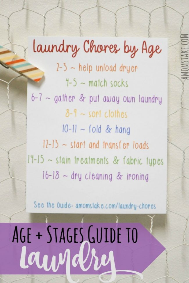 Ages & Stages Guide on how to get the kids involved and helping you with the laundry chore. Easy ways to get the kids to help with sorting, folding, and caring for the laundry chores so they are independent by the time they leave the home. #laundry #chores #homemanagement #home #kidschores