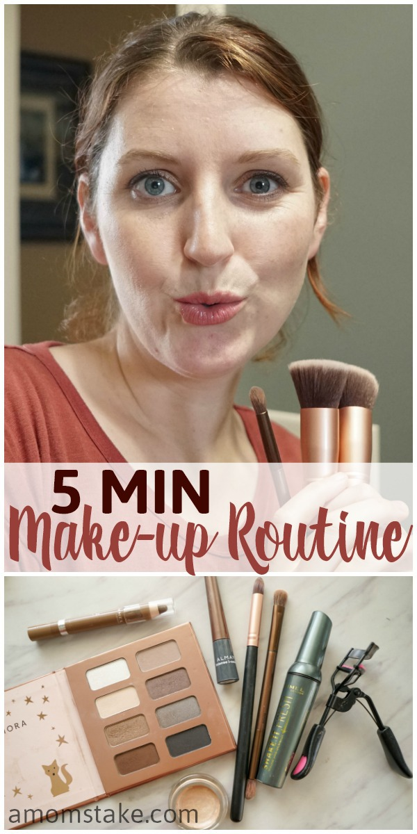 This easy 5 minutes (or less) morning make-up routine can help you put you feel confident and pretty with minimal effort. Try these beauty tricks and some of the products we use. #beauty #makeup #routines #makeuproutine #5minmakeup