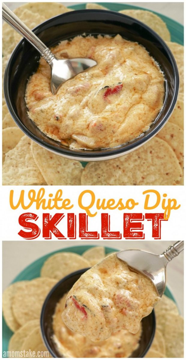 A yummy, and easy, cheap appetizer that will impress your guests! Try this white queso skillet dip that taste restaurant quality.