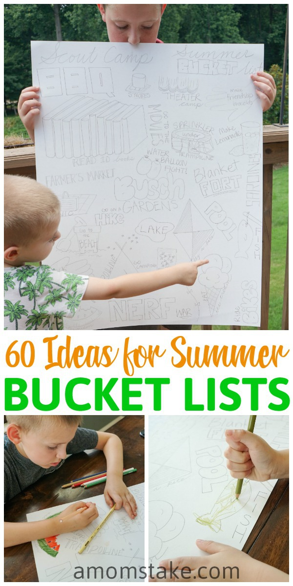 60 Summer Bucket List Ideas for Toddlers to Teens! Fun things to do to keep the kids busy and help build family memories all slummer long. We're celebrating the big and small summer happenings with this easy DIY bucket chart poster!