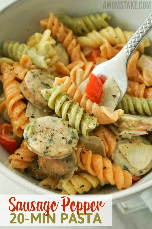 Make this easy 20-minute dinner recipe of Sausage & Pepper Pasta!