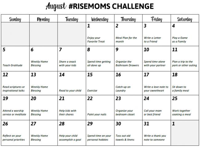 aug risemoms challenge calendar