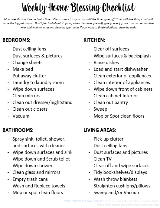 graphic about Cleaning List Printable known as weekly cleansing record -