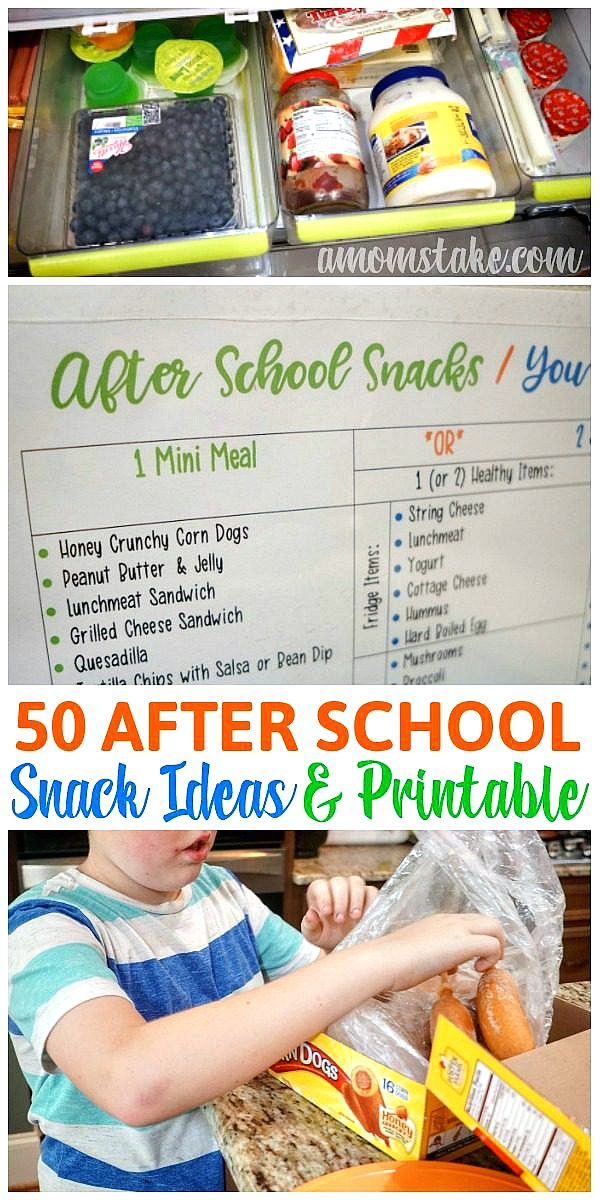 Over 50 easy after school snacks - list and printable with ideas and how to simplify the afternoon hustle. Quick mini meals and healthy snacks. #snacks #afterschoolsnacks #snacktime #snackideas