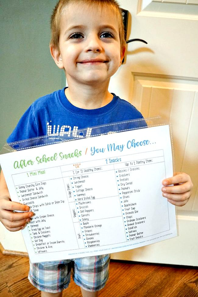 printable after school snacks list