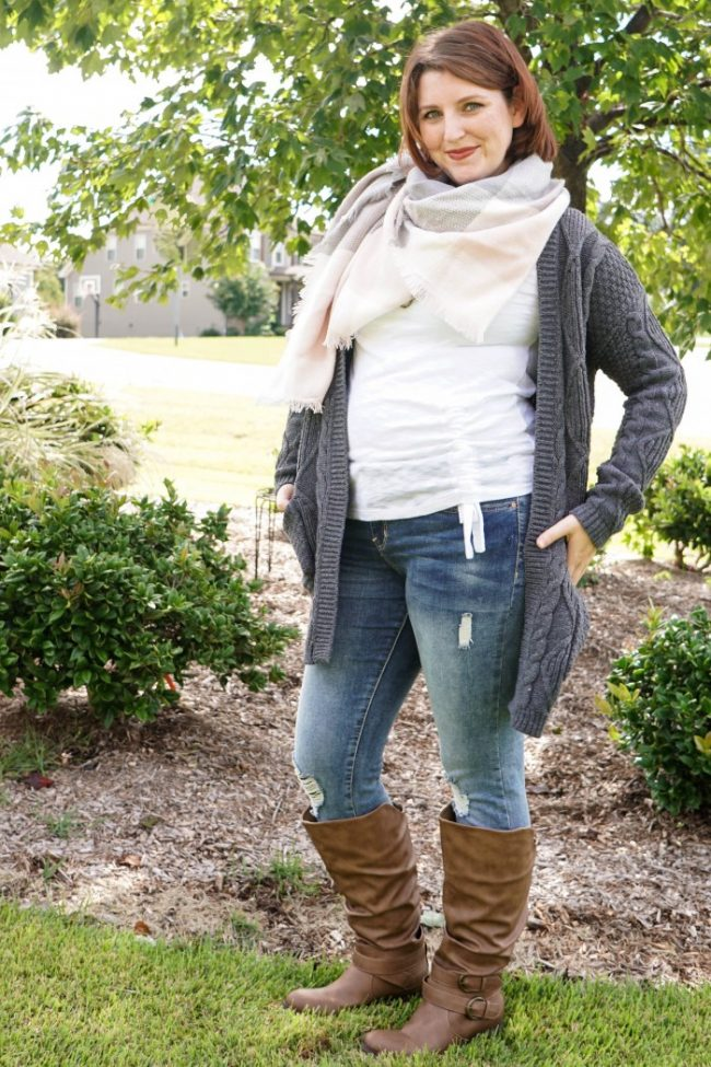 layered look for fall with cardigan scarf and boots