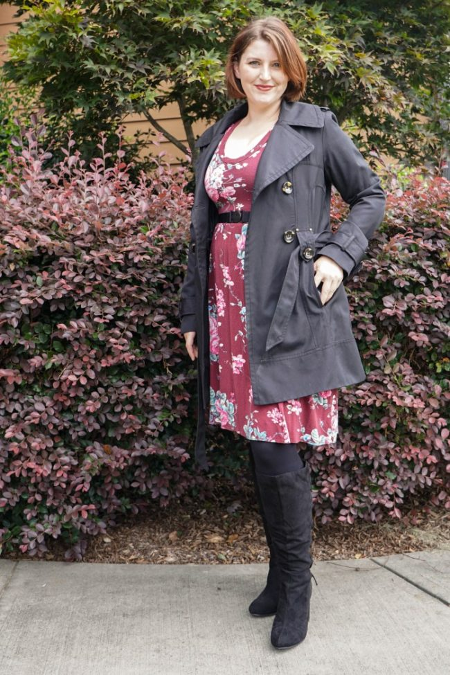 easy fall layered look with spring dress
