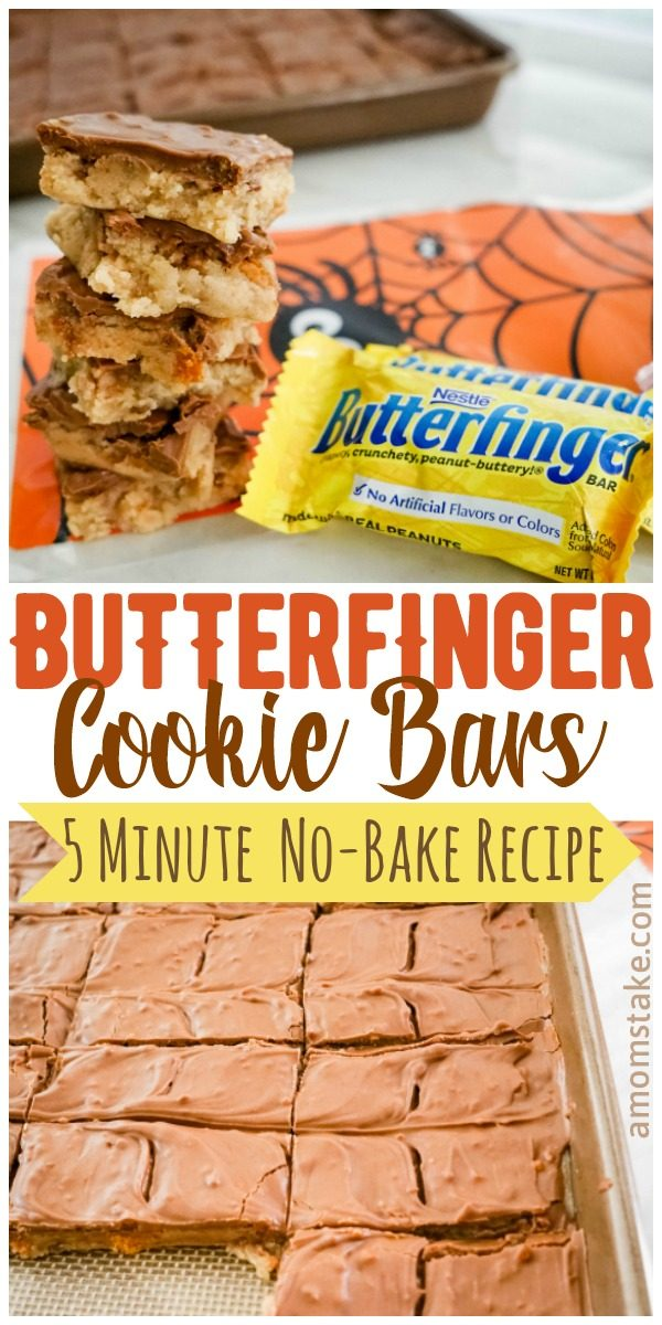 Fun and easy no-bake Butterfinger Cookie Dough Bars. Just 5 mins to make these so yummy treats that will make enough for a large gathering! Perfect way to use leftover Halloween candy or make a treat for your Trick or Treat visitors! #Halloween #Butterfinger #Candy #Recipe #Cookies