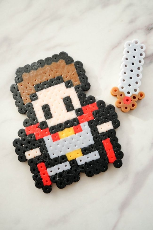 perler bead hero solider pattern with sword