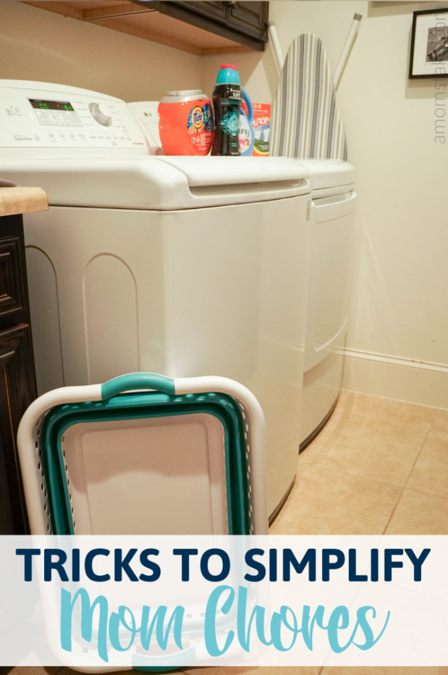 Clean laundry room with laundry products and laundry basket