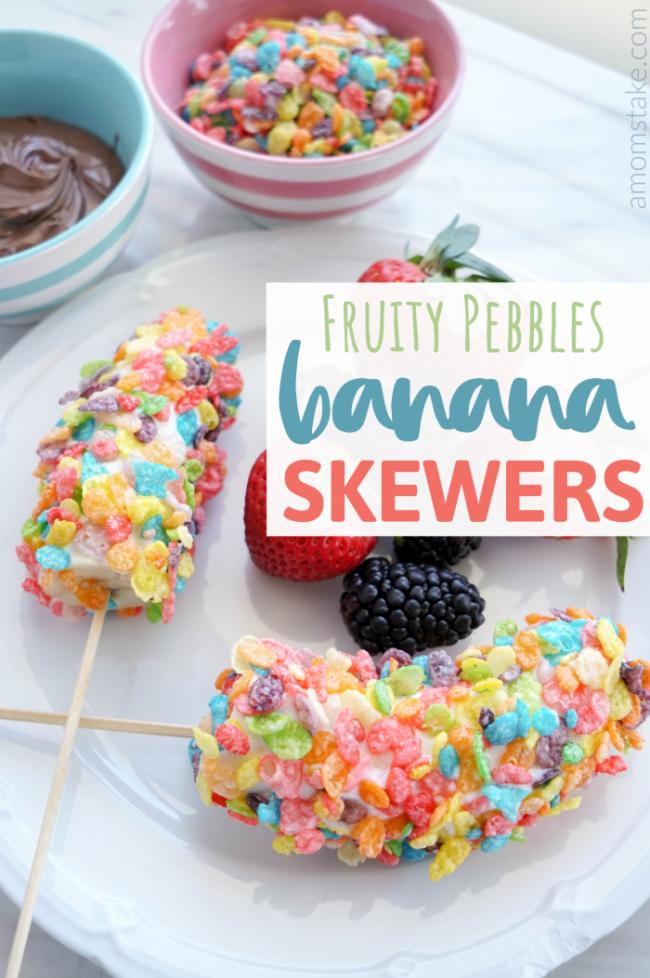 Fruity Pebbles Banana Skewers