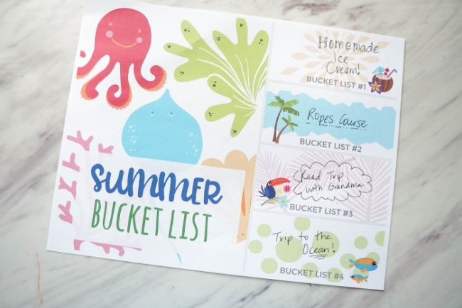 Family Summer Bucket List Printable