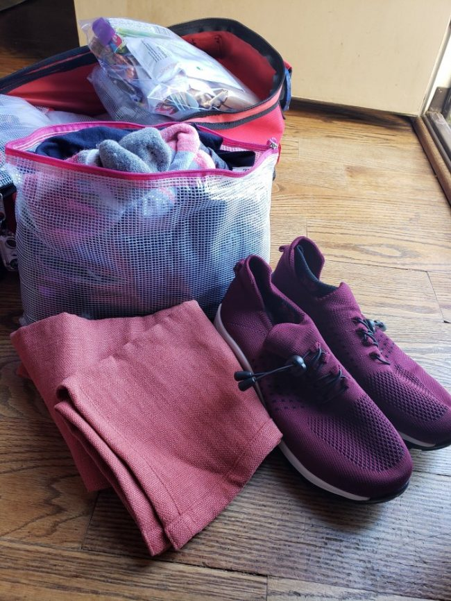 72 hour kit clothes, shoes and towel