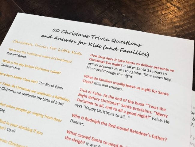 christmas trivia 1-sheet questions and answers