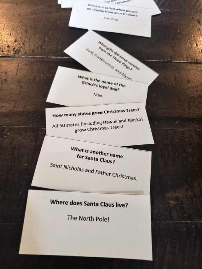 christmas trivia individual question cards